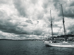 Oslofjord (Miguel Virkkunen Carvalho) Tags: travel sky water oslo norway clouds composition photography boat scenery europe sailing harbour north stormy scene duotone nordic scandinavia northern oslofjord northerneurope