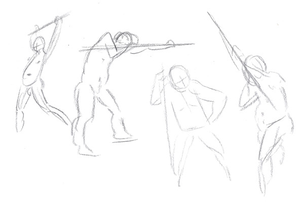 Gesture Drawings - shooting pool