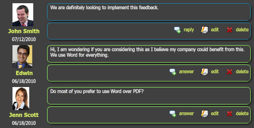 feedback comments
