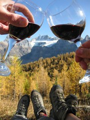 Nick and Espy cheers in larch valley (Cathedral Mountain Lodge) Tags: mountains wine hiking banff rockymountains banffnationalpark