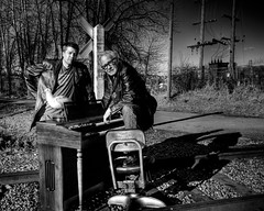 Railroad Tracks and an Organ - Norman 2100 (JLPhotoArt - Jeremy Lindstrom) Tags: ca musician music canada vintage keyboard bc surrealism traintracks surreal oldman retro newwestminster unplugged railroadtracks lowreyorgan
