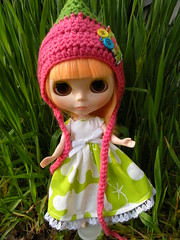 Willow with her new eyechips and hat!