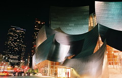 Walt Disney Concert Hall (Space-wanderer) Tags: longexposure architecture night 35mm canon losangeles ae1 taxi gehry electricity waltdisneyconcerthall downtownlosangeles