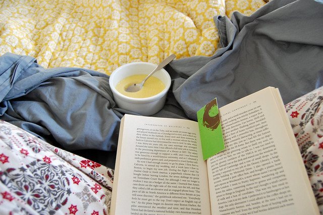 pajamas, reading in bed, custard for breakfast