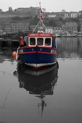 Jennifer Margaret provides a splash of colour on a grey day. (The Shiba) Tags: grey boat fishing day jennifer memories whitby margaret selective buoyant
