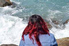 Dissolved (Yarely Ramirez Urias) Tags: ocean she california blue red sea primavera me girl hair myself mexico mar photo spring rojo nikon head wave down calm le sound baja tijuana makes rosarito playas cabello yarely altj