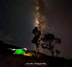 vertical (azrudin) Tags: milkyway stars startrail nightshots campsite camping basecamp lighttrail senaru lombok crater mountain volcano azrudinphotography
