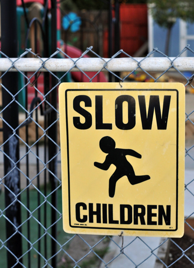 slow children sign at a school, DSC_0022