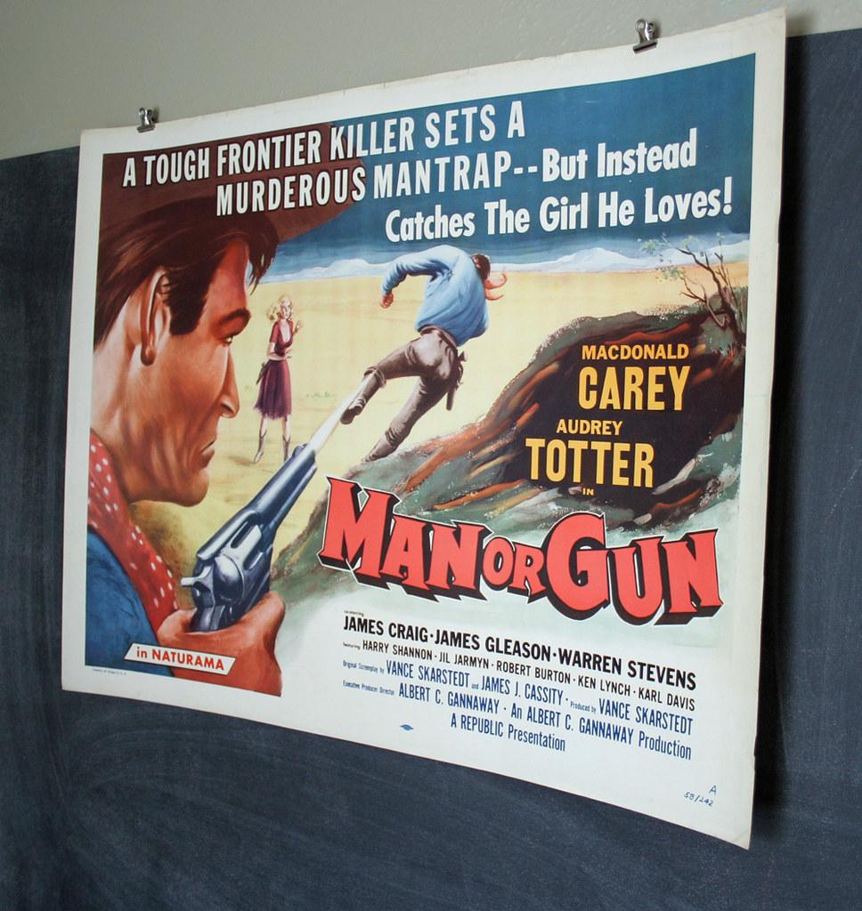 Vintage Man Or Gun Original Western Movie Poster