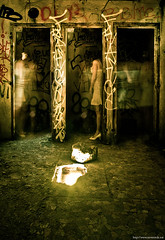 Ghosts (never ends) Tags: light woman paris france illustration photomanipulation dark underground doors dress hole femme tags urbanexploration photomontage ghosts shelter quarry worldwar souterrain trou catacombes urbex portes whitedress abri carriere fantomes explorationurbaine robeblanche defensepassive