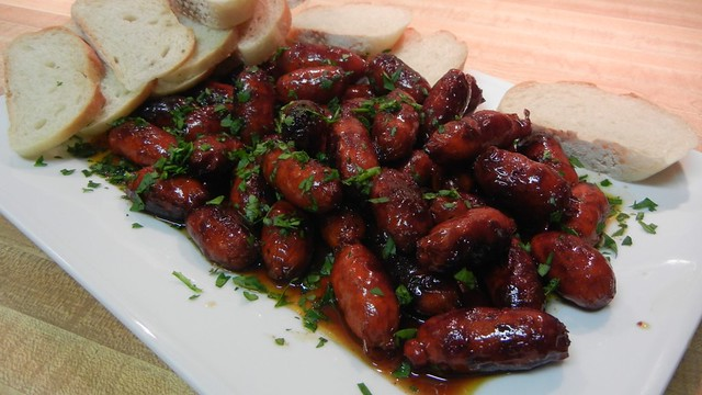 "Choricitos al Vino (Chorizo in Red Wine or ""Fancy Cocktail Wieners"")"