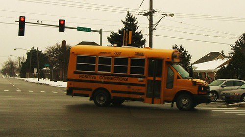 Positive Connections Chevrolet van style school bus. Niles Illinois USA. Monday, January 24th, 2011. by Eddie from Chicago