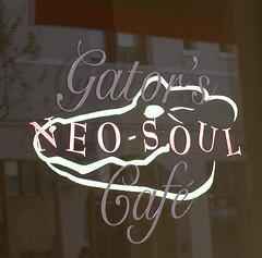 Gator's Neo-Soul Cafe Window (ART WORKS PROJECTS) Tags: signs signage artworks windowsigns signpainter restaurantsigns handpaintedsigns customsigns restaurantsignage customsignage windowsignage johnespinola