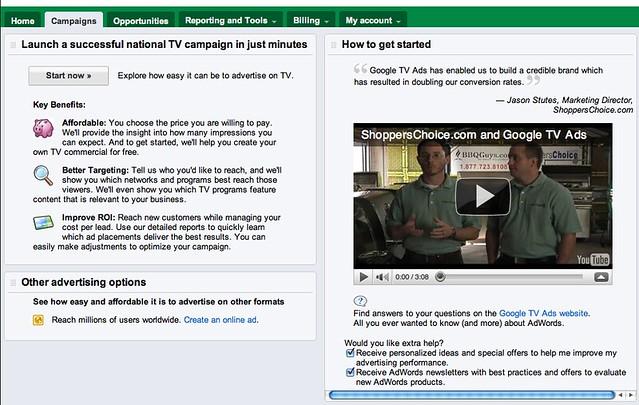 AdWords TV Ad Push?