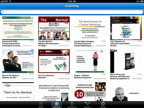 Brainshark iPad app - eLearning Tab