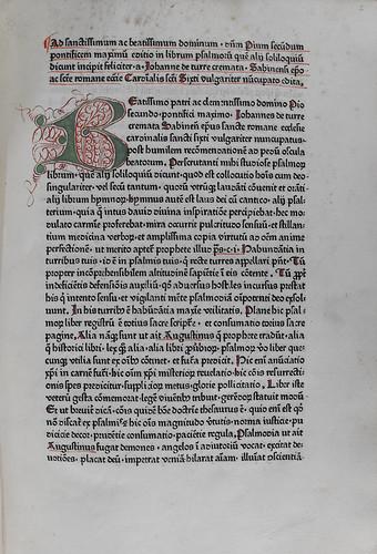 Decorated initial in Turrecremata, Johannes de: Expositio super toto psalterio