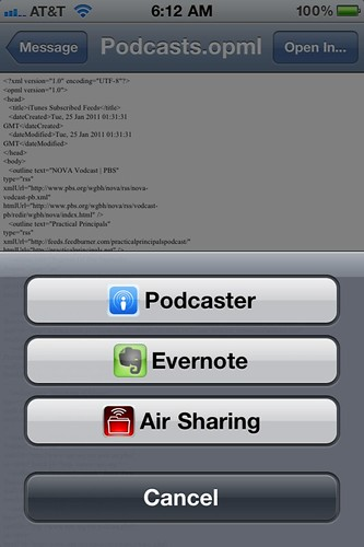 Emailed OPML files from iTunes can be opened in Podcaster on your iPhone