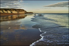 Tide at Botany Bay (adrians_art) Tags: morning sea sky cloud wet water reflections coast early kent sand surf waves tide horizon shore northsea botanybay broadstairs chalkcliffs