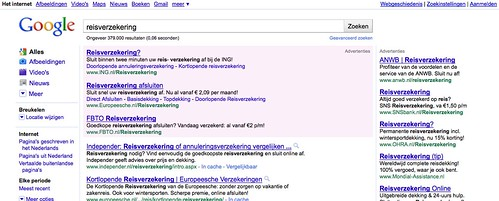 Huidige Google AdWords top advertentie