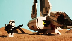 Guarding the Dropship (Blockaderunner) Tags: star lego stormtrooper imperial wars tatooine sandtrooper dropship