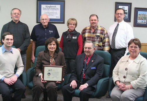 USDA State Director Presents a Certificate of Achievement to the Water Association:  left to right front row seated Matt Astleford – Senator Tim Johnson's staff; Rural Development State Director Elsie M. Meeks; Larry Sterling – Chairman; Rural Development Area Director Darlene Bresson; left to right standing back row Dale Thompson – Director/Board Member; John Weidler – Director/Board Member; Rural Development Manager Jeane Simley; Brian Christensen – Director/Board Member; and Randy Jencks – General Manager of Kingbrook Rural Water Association.USDA State Director Presents a Certificate of Achievement to the Water Association:  left to right front row seated Matt Astleford – Senator Tim Johnson's staff; Rural Development State Director Elsie M. Meeks; Larry Sterling – Chairman; Rural Development Area Director Darlene Bresson; left to right standing back row Dale Thompson – Director/Board Member; John Weidler – Director/Board Member; Rural Development Manager Jeane Simley; Brian Christensen – Director/Board Member; and Randy Jencks – General Manager of Kingbrook Rural Water Association.
