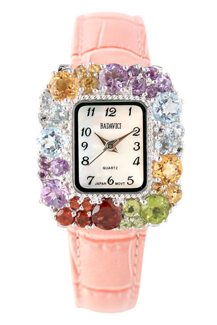 Multi Gemstone Bezel Watch with Light Pink Leather Strap