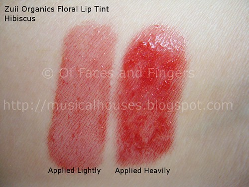 zuii organics floral lip tint hibiscus swatch