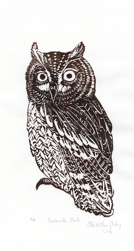 scan of Screen-Owl linocut