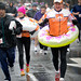 Some runners took extra precautions in case of heavy rains.