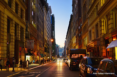 Dusk (Rafakoy) Tags: street city nyc newyorkcity blue light red sky people urban ny newyork color colour cars colors car skyline night digital dark walking lights photo cityscape colours photos dusk walk manhattan late avenue afsnikkor18105mmvr nikond7000