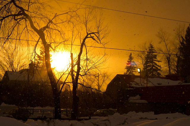 Sunset Snow storm