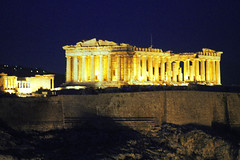 parthenon and erechtheum (Xuan Che) Tags: city travel winter light history film archaeology yellow stone architecture night temple ancient ruins europe december kodak hill capital athens scan parthenon greece negative m42 classical column marble pentacon acropolis worldheritage 2010 erechtheum 200mm ultramax filopappos pentelic voigtlanderbessaflex 4200mm gettycandidate