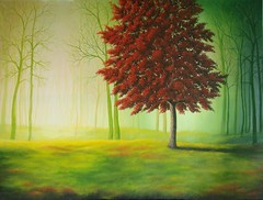 Quiet Time (Janet Paden) Tags: autumn green fall yellow misty forest fallcolors foggy meadow surreal oilpainting redleaves redtree largepainting stretchedcanvas 36x48inches backstapled