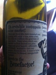 2009 Benefactor Cellars Red (back label)