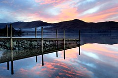 Smoke on the water. Fire in the sky. (Tony Armstrong-Sly) Tags: winter sunset england sky lake reflection nature water clouds sunrise reflections landscape pier countryside smoke lakedistrict cumbria british derwentwater englishlakedistrict gorgeousreflections dwcfflandscape