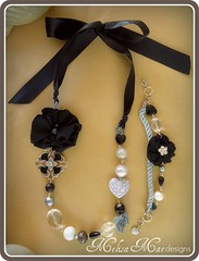 Pretty in Black Sparkle Necklace + Bracelet (MelisaMae) Tags: black flower necklace handmade sparkle bracelet pearl elegant glassbeads silkribbon fabricflower ribbonnecklace