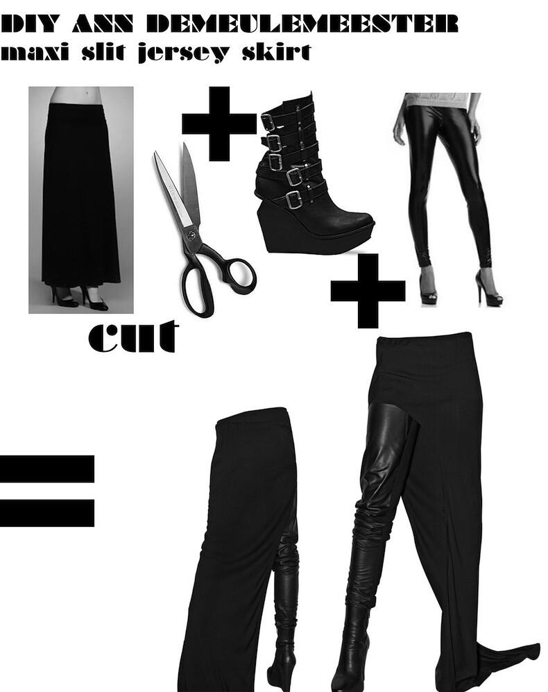 DIY Ann Demeulemeester maxi slit skirt