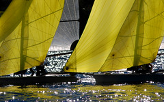 Close quarters ..... (Bruce Kerridge) Tags: light water yellow race harbor boat sailing yacht sydney australia 49 sail spinnaker weekly dinghy mosman bethwaite 49er plusten 49er