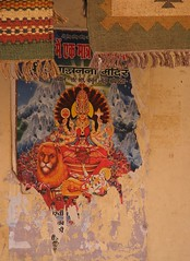 wall (tea-daze) Tags: life lake art love wall poster ma temple happy graffiti shrine colours peace god kali delhi indian prayer north taj mahal agra holy textile fabric idol gods shiva carpets pushkar hindu mata puja hindi rajasthan shiv durga maa godess kaali maata