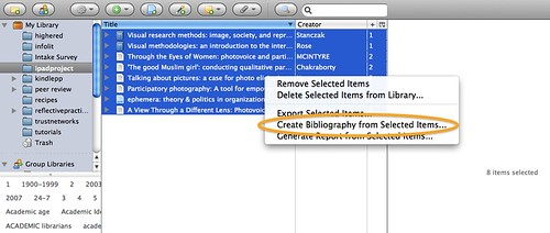 Screenshot of the zotero window with a list of selections highlighted and the right-click menu displayed