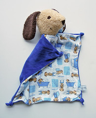 dog-sand-and-blue-with-dogs (Polar Bear Creations Dolls) Tags: dog natural blanky softtoy babytoy waldorftoy