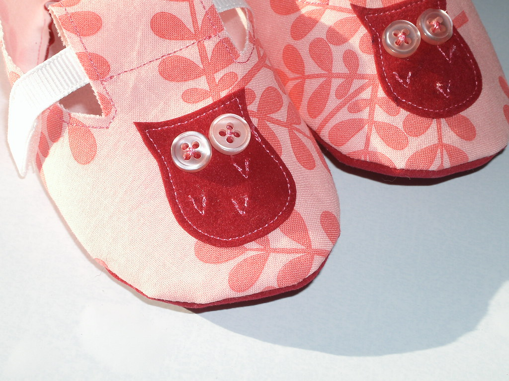 Childrens Soft Sole Shoes in Rasberry with Cherry Owl Applique 9-12 mos
