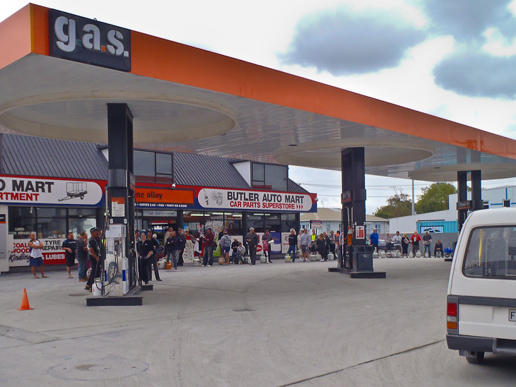 queues for propane at gas station after Christchurch earthquake