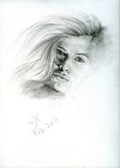 Natalie (Tanaii) Tags: portrait bw woman art face female pencil sketch drawing