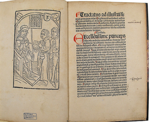 Woodcut illustration and annotations in Molitoris, Ulricus: De lamiis et phitonicis mulieribus