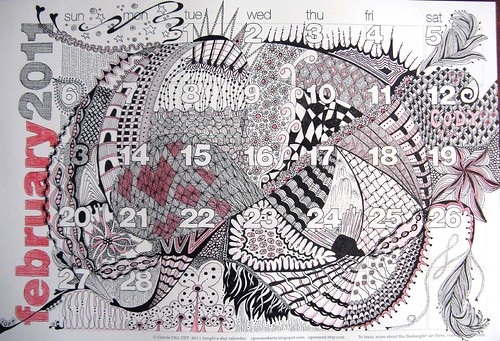 month of february calendar 2011. 2011. Zentangle-A-Day calendar