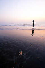 Traveler for life [..Cox's Bazar, Bangladesh..] (Catch the dream) Tags: ocean sunset sea fish man reflection tourism ecology starfish dusk horizon seashore bangladesh biological biodiversity traveler marineecology coxsbazar catchthedream mohammadmoniruzzaman gettyimagesbangladeshq2