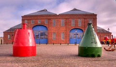 Newly painted Buoys in front of the Linthouse (Scottish Maritime Museum - SMM) Tags: building history museum scotland clyde boat sailing ship paddle scottish commons vessel steam maritime sail steamer cruiser turbine irvine smm ayrshire scottishmaritimemuseum linthouse ayrshirecoast 8qe ka12 scotmaritime