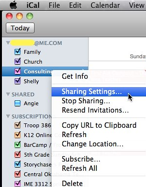 Sharing Settings for Mobile Me Calendar in iCal
