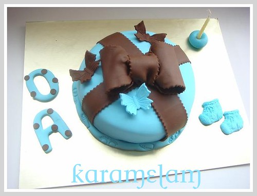 blue brown baby shower cake by guzinhakan